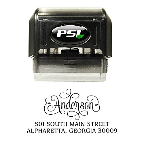 Address Stamp - Personalized and Self Inking, Black Ink - Swirly Swashes by PrettySweetParty