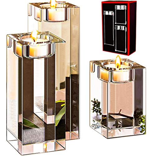 Le Sens Amazing Home Large Crystal Candle Holders Set of 3, 3.1/4.7/6.2 inches Height, Elegant Heavy Solid Square Tealight Holders Set Centerpieces for Home Decoration, Wedding and Anniversary ()