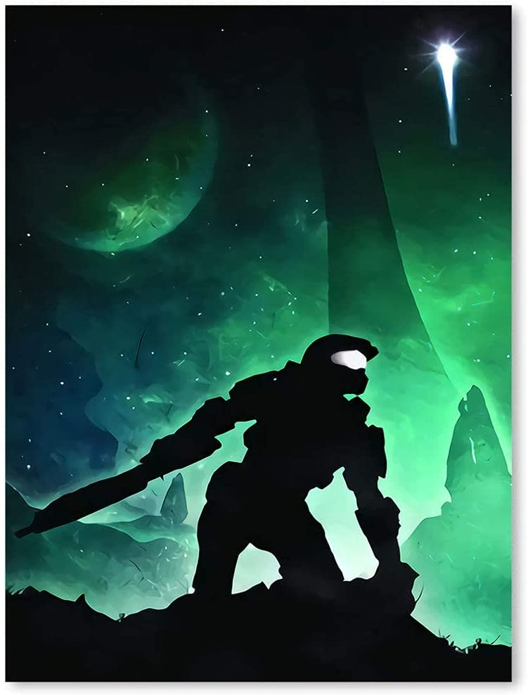 Posters Canvas Art Wall Decor for Living Room Trend International Halo 3 Unlimited Game Characters Soul of Heroes Canvas Pictures for Wall Custom 17x23inch