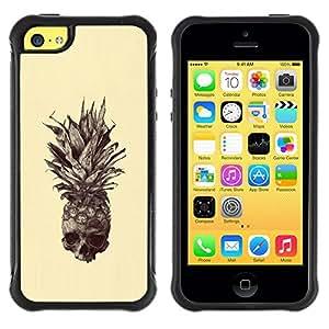 Suave TPU Caso Carcasa de Caucho Funda para Apple Iphone 5C / Skull Tattoo Art Drawing / STRONG