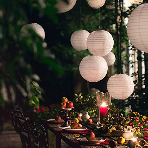 20 White Round Paper Lanterns for Weddings, Birthdays, Parties and Events - Assorted Sizes of 6'', 8'', 10'', 12'' (5 of Each Size) - by Avoseta by Avoseta (Image #3)'