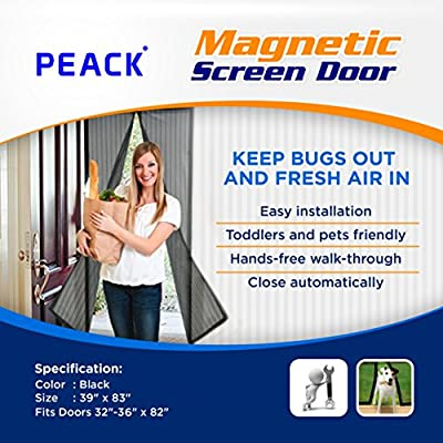 "Premium Magnetic Screen Door, No More Mosquitos or Flying Insects, Automatically Shut Like Magic for a Hands-Free Bug-Proof Curtain, Toddler And Pet Friendly - Fits Doors Up To 36"" x 82"" MAX"