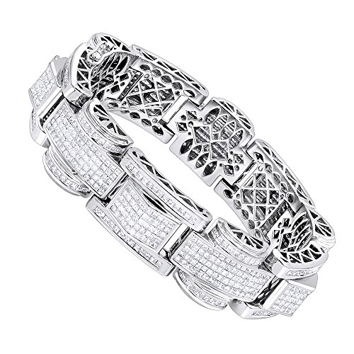 Mens 14K Gold Unique Princess Cut Diamond Bracelet 30ctw G-H color (White Gold)
