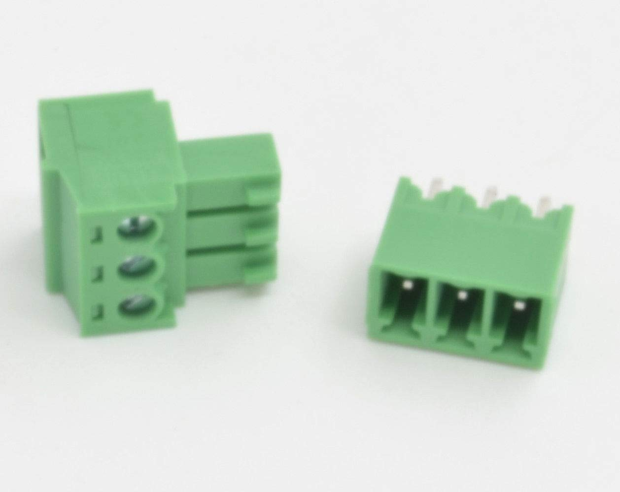 100 Pcs 3.81mm Pitch 3 Pin Straight Screw Pluggable Terminal Block Plug Connector