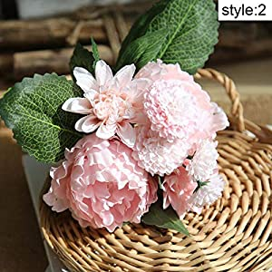 Artificial Peony Flowers Plants Fake Dahlia Floral Bouquet for Wedding Party Home Decor 5