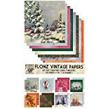 Paper Pack (24sh 15x15cm) Christmas Cards Templates FLONZ Vintage Paper for Scrapbooking and Craft