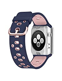 Apple Watch Breathable Band 38mm, UMTELE Silicone Replacement Wristband Sport Strap with TPU Protective Case for Apple Watch Series 3/2/1, Nike+, Blue/Pink