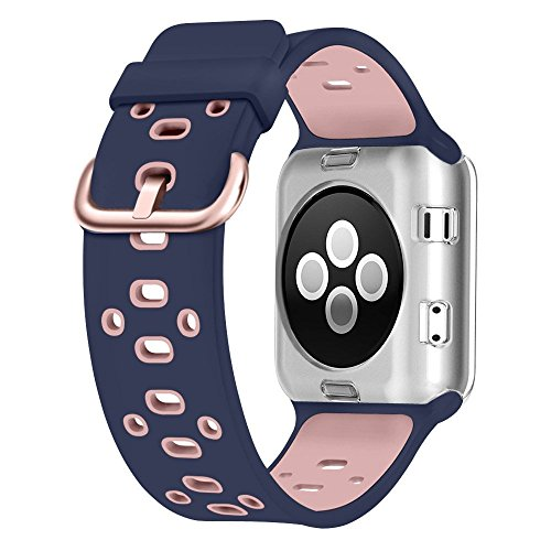 UMTELE Soft Silicone Replacement Band Sport Strap with Ventilation Holes for Apple Watch Nike+, Series 3,Series 2, Series 1, Sport, Edition, Blue Pink