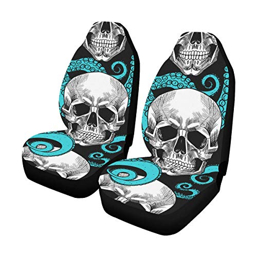 Skull Back Cover - InterestPrint Front Car Seat Covers Set of 2 Design Octopus and Skull Fabric Protector Cases for Sedan Truck SUV Van