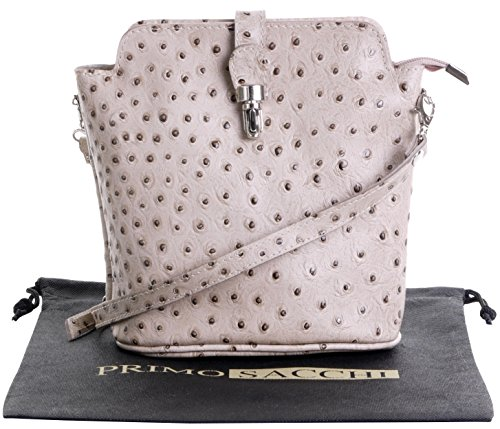 Bag Storage Beige Hand Italian Primo Cross Sacchi Ostrich Shoulder Small Leather Includes Made a Body Front Handbag Bag Effect Protective or Branded Clasp qRBw1