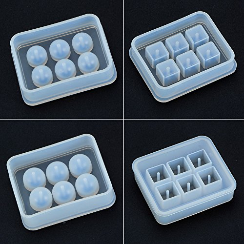 (PH PandaHall 4 Pieces Round Square Silicone Bead Molds with Holes Resin Jewelry Making DIY Craft Tools )