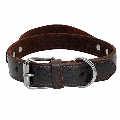 PET ARTIST Genuine Leather Dog Collar Walking & Training Heavy Duty Dog Collar Handle Medium & Large Dogs