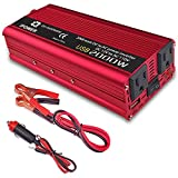 IpowerBingo 1000W/2000W(Peak) Power Inverter for Home Car RV with 2 AC Outlets Converter 12V DC to 110V AC Inverter