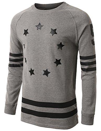 URBANCREWS Hipster Hip-Hop French Terry Star Sweatshirts Pullover GRAY MEDIUM