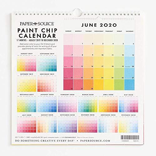 2019-2020 Paint Chip Calendar (Paper Source Wall Calendar)