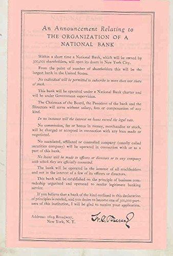 National Bank Stock - 1923 Durant National Bank Stock Offering Reorganization Application