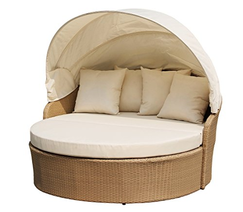 W Unlimited Blueczy Collection Circular Lazy Daybed with Canopy Outdoor Furniture Backyard Light Brown Wicker Patio Furniture Weather Resist Aluminum Frame Cushions (Daybed Canopy Bedding)