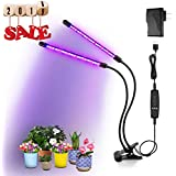 BRIONAC LED Grow Light, 20W 40 LED Full Spectrum Bulbs Plant Growing Lamp, 9 Dimmable Levels, 3/9/12H Timer Grow Lights with Dual Head and 360 Degree Flexible Gooseneck for Indoor Greenhouse Plants