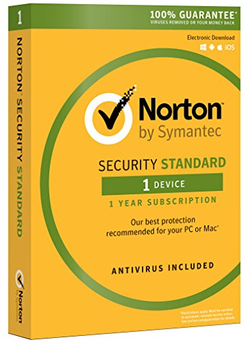 Norton Security Standard - Antivirus software for 1 Device with Auto Renewal, Requires Payment Method - 1 Year Pre-Paid Subscription [PC/Mac/Mobile Download] (Best Low Resource Antivirus 2019)