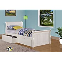 DONCO Kids 325-TW Sleigh Bed, Twin, White