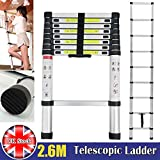 Autofather Telescopic 2.6M Aluminum DIY Extension Single Straight Muli Purpose Ladder Step Climb Light Weight Maximum Load 150KG 330lbs Compact and Sturdy, UK Stock