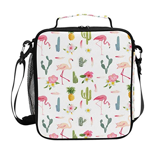 (Insulated Lunch Box Cactus Flamingo Large Lunch Bag Warmer Cooler Meal Prep Lunch Tote with Shoulder Strap for Women Boys Girls)