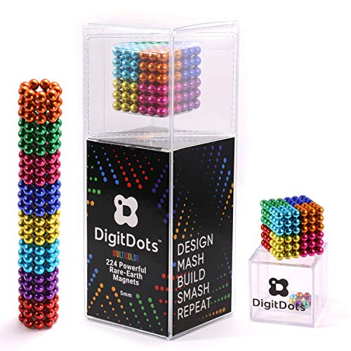 Brainspark DigitDots Multi Colored 224 Pieces 5 Millimeter Magnetic Balls 8 Colors The Original Adult Fidget Toys Rare Earth Magnets Desk Toys Desk Games Magnet Toys Stress Relief Toys