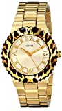 GUESS Women's U0404L1 Gold-Tone Watch with Animal Print Top Ring