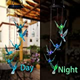 WeeCosy Color-Changing Hummingbird LED Solar String Lights Mobile Wind Chimes for Christmas,Night Light, Garden, Festival, Décor and Party etc