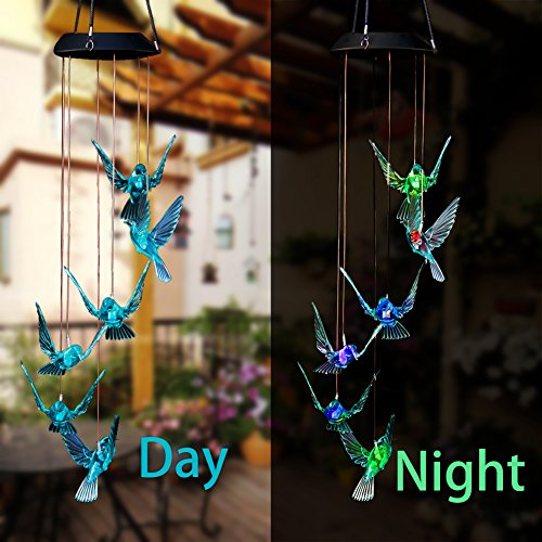 WeeCosy Color-Changing Hummingbird LED Solar String Lights Mobile Wind Chimes for Christmas,Night Light, Garden, Festival, Décor and Party etc by WeeCosy