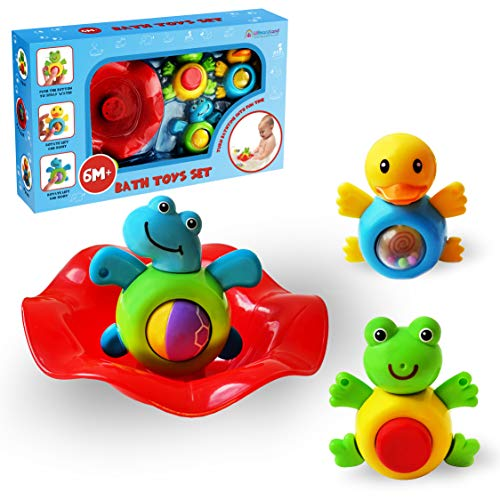 Baby Bath Toys Gift Set For Infants - Spin Rattles - Best Bathroom Animal Toys For Toddlers - Infant Shower Toys - Fun Bath Time Tub Toys - Bathtub Toys For Boys And Girls 6 Months Up To 3 Years Old