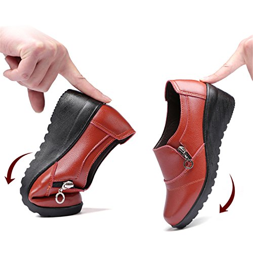 Wedding Shoes Shoes Red Genuine Women's On Women Work Kenavinca 8 Comfortable Leather Mother Autumn Slip 1q8RwPw7x