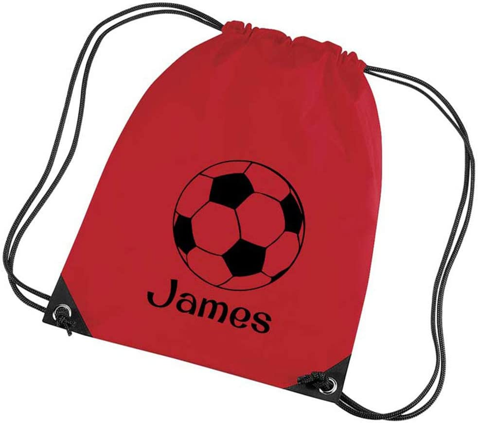 12 Colours Funky Labels Dont Come Unstuck Personalised Football Premium Drawstring Bag PE Gym Kit School P.E Kids Sport Rucksack