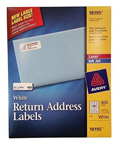 (AVERY White Return Address Labels 600 Laser & Ink Jet, 2/3