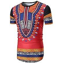 Nikuya Men Summer Casual African Print O Neck Pullover Short Sleeve T-Shirt Top Blouse