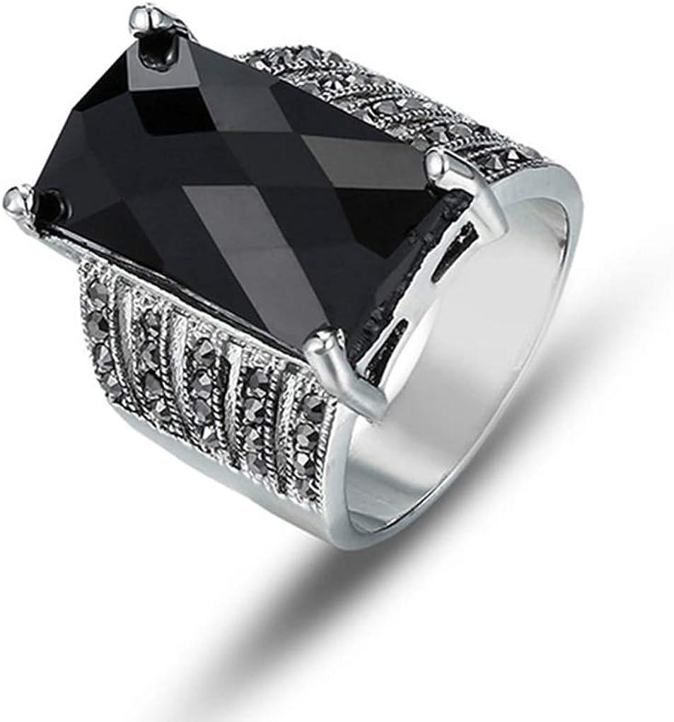 Quoouz Conjunto De Diamantes Individuales Vintage para Mujer con Anillos De Piedras Preciosas Cuadrados Negros
