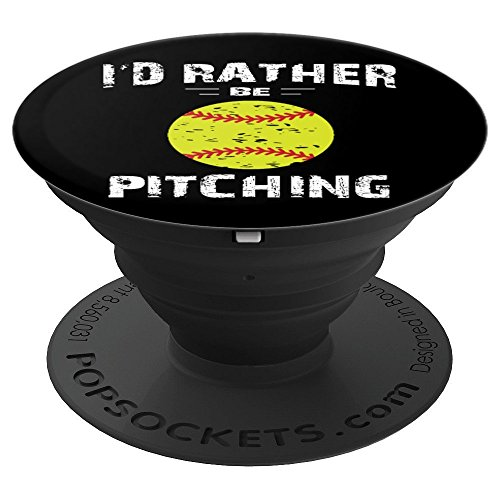I'd Rather Be Pitching Gift for Softball Pitcher - PopSockets Grip and Stand for Phones and Tablets by Softball Gifts Shirts by MV&SG