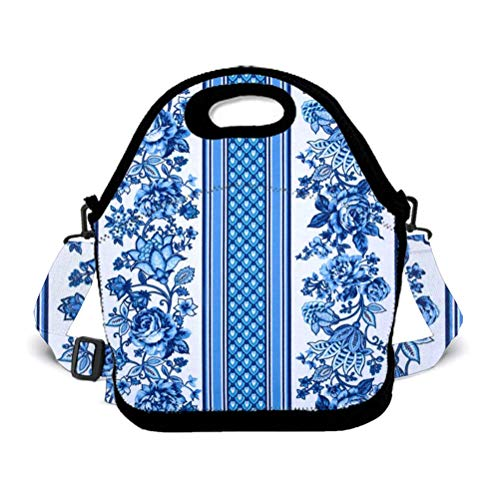 OKAYDECOR Blue White Flowers Porcelain Lunch Bag Travel Zipper Organizer Bag, Waterproof Outdoor Travel Picnic Lunch Box Bag Tote Backpack with Zipper and Adjustable Crossbody Strap
