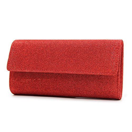 Milisente Clutch Elegant Bags Red Women Purse Evening Clutch Sequins Shoulder Bag Chain ZnqZYrO7