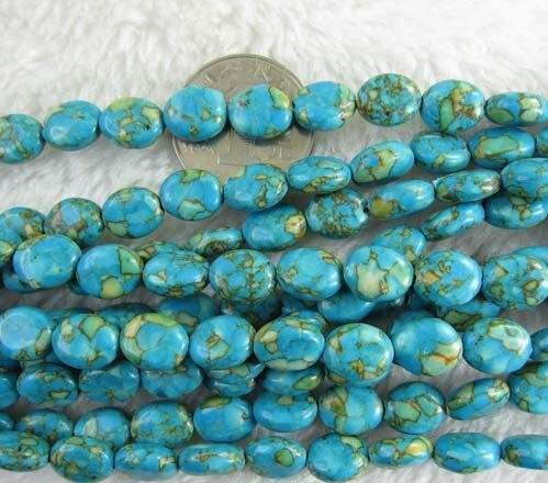Oval Gemstone - 9x11mm Oval Blue Imperial Jasper Beads Loose Gemstone Beads for Jewelry Making Strand 15 Inch (33-36pcs)