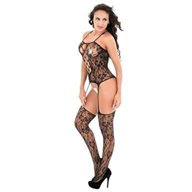 57d2dbfde53 Babydoll Open Crotch Bodystockings Perspective Underwear Pajama Lingerie  Crotchless Bodystocking Sexy Open Stretch Bodysuit Fishnet Black (Black)   ...