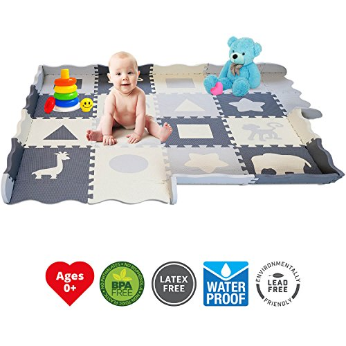 Soft Foam Baby Play Mat - Interlocking Floor Tiles, Extra Thick (0.80) | Non-Toxic, Crawling, Tummy Time Mat | Neutral Colors, Children Play Room & Baby Nurseries | Infant, Baby, Toddler, Kid