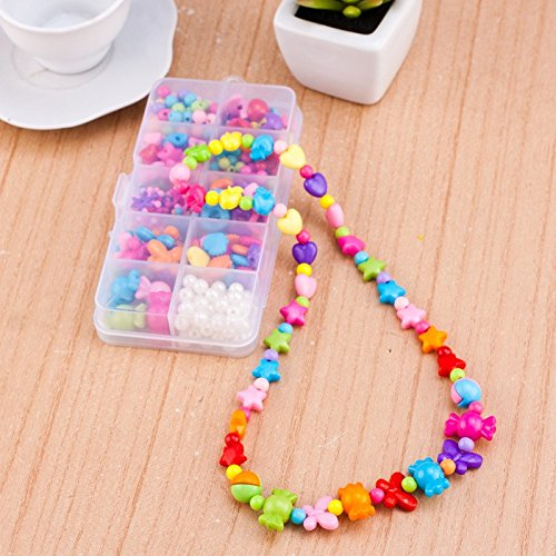 1 Box Child Kid Candy Colors Cartoon String Beads Set Mixed Shapes Handmade DIY Beaded Early Learning Puzzle Toys