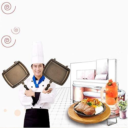 Double Sided BBQ Portable Grill Pan, Pan Double séparé Amovible antiadhésives Barbecue Plaque pour intérieur et extérieur de Poulet cuit, Poisson, Oeuf