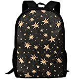 Zx7CAp3 Gold Stars Seamless Laptop Backpack, Travel Computer Bag For Women & Men, Anti Theft Water Resistant College School Bookbag, Slim Business Backpack