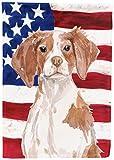 Caroline's Treasures BB9364GF Brittany Spaniel Patriotic Decorative Garden Flag, Multicolor For Sale