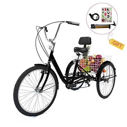EOSAGA Adult Tricycle 7 Speed 24/26 Inch Trike Cruiser Bike Three-Wheeled BicycleBrake System and Basket Cruiser Bicycles Size for Shopping,Recreation with Large Basket, Lock, Bike Pump