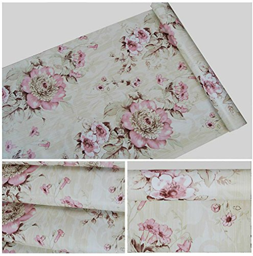 Removable Contact Paper Decorative Floral Self Adhesive Shelf Liner Paper PVC Wallpaper for Kitchen Cabinets Drawers Shelves Countertops Windows Walls Crafts 17.7