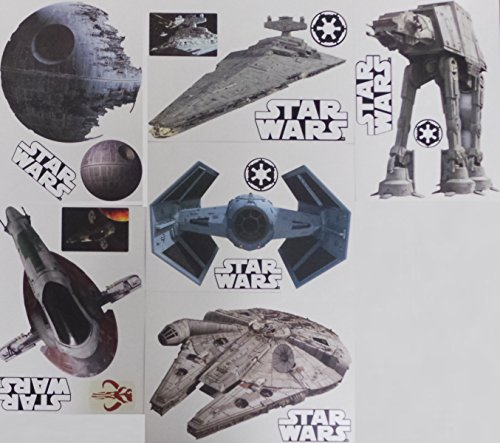 "Star Wars FATHEAD Set of 18 Vinyl Wall Graphics Re-Usable and Removable Decals: Death Star, Millenium Falcon, Star Destroyer, TIE Advanced X1 Starfighter, Slave 1, AT-AT (Main Graphics 7"" INCH EACH)"