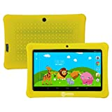 HOLIDAY SPECIAL! Contixo Kids Safe 7'' Quad-Core Tablet 8GB, Bluetooth, Wi-Fi, Cameras, Free Games, HD Edition w/ Kids-Place Parental Control, Kid-Proof Case (Yellow) - Best Gift For Christmas